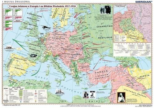 I Wojna Swiatowa Europa Bliski Wschod 1917 18 Mapa Scienna