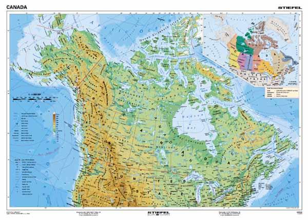 kanada mapa KANADA mapa fizyczna nr 122 10 S TRIOPOLSKA   Pomoce dydaktyczne  kanada mapa